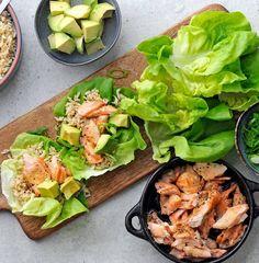 quick dinner, easy dinner, fast dinner, Lent, salmon recipes, easy salmon recipes, seafood recipes, healthy dinner, lettuce wrap recipes, lettuce wraps, avocado recipes, healthy dinner ideas, low carb recipes, 15 minute recipes, 15 minute dinner ideas, 15 minute meals Lettuce Wrap Recipes, Easy Salmon Recipes, Avocado Recipes, Lettuce Wraps, Seafood Recipes, Clean Eating Recipes, Healthy Eating, Salmon And Rice, Winter Dishes