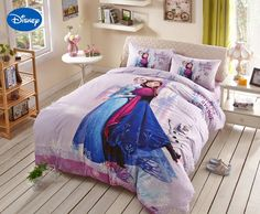 Home Textile Bedding Able Lace Frozen Elsa And Anna Bedding Set Girls Baby Bed Sheet Disney Cartoon Cotton Applique Embroidery Full Queen Size Blue Color