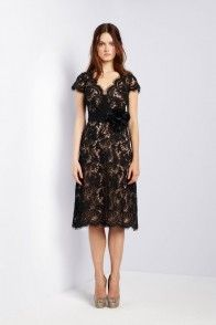 Collette Dinnigan French Floral Lace & Silk Crossover Scallop Short Dress, MORE COLOURS