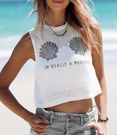 Casual Style Jewel Neck Sleeveless Printed Letter Crop Top For Women Vests & Tank Tops | RoseGal.com