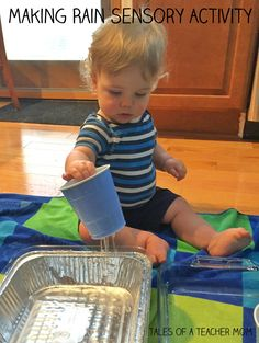 Making Rain Sensory Activity, one year old activity from Tales of a Teacher Mom.