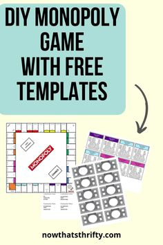 DIY Monopoly Game with Free Templates - Now That's Thrifty! you glad it's almost summer printable tag you glad it's summer printable you glad it's summer printable tags printables printables for preschoolers printables free Board Game Template, Printable Board Games, Board Games For Kids, Templates Printable Free, Cool Board Games, Game Boards, Printables, Monopoly Party, Monopoly Board