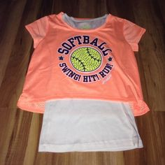 Justice NWOT softball tee Cute softball tee. Never been worn, no flaws and perfect condition. Size 14 Justice Tops Tees - Short Sleeve