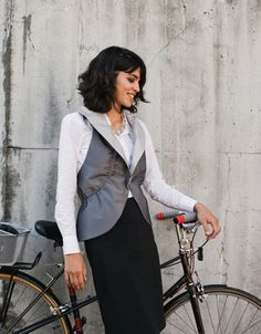 The Two-way Reflective Vest provides high visibility for women on their bikes. Completely reversible, it can be styled multiple ways. Fabric Shop, Jeans Style, Stylish Outfits, Vest, Bike, Blazer, Clothes For Women, Silhouette, Create