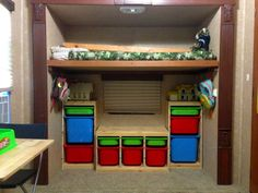 Boys bunk room in rvmaybe when we upgrade travel trailer living, Travel Trailer Living, Diy Online, Bunk Rooms, Rv Living, Tiny Living, Camping Organization, Trailer Remodel, Remodeled Campers, Rv Life