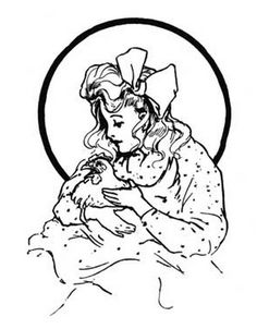 Dorothy and Billina. Another John R. Neill illustration from Ozma of Oz (1907). What a sweet image of a girl embracing a chicken