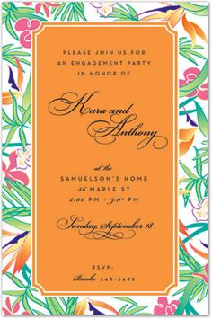 Tropical Colorful Flora Party Invitations, 24836