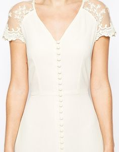 Enlarge Jarlo Lucia Button Through Maxi Dress With Lace Shoulders