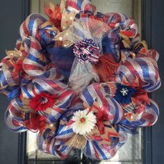 A personal favorite from my Etsy shop https://www.etsy.com/listing/233792720/mesh-and-burlap-patriotic-wreath-with