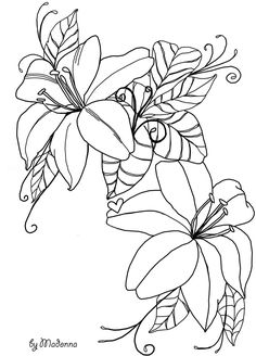 Line Drawing Flower Picture Line Drawing Flower Drawing And Coloring For Kids Flower Coloring Pages, Colouring Pages, Coloring Books, Flower Line Drawings, Flower Sketches, Mosaic Patterns, Embroidery Patterns, Lilies Drawing, Mandala