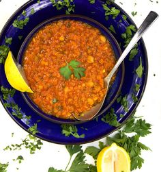 Moroccan Lentil Soup - beautifully spiced soup with tender red lentils and chickpeas | Panning The GlobeMoroccan Lentil Soup | Panning The Globe