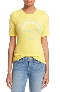 FRAME DENIM Short Sleeve Cute St Tropez Getaway Tee Shirt Top Canary Yellow $130 #FrameDenim #Tee #Casual