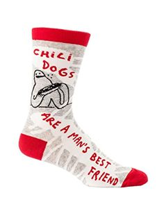 Chilidogs are a Man's Best Friend Men's Quirky Crew Socks Hipster/Nerdy/Geeky/Trendy, Funny Novelty Socks with Cool Design, Bold/Crazy/Unique Gray Dress Socks Blue Q Socks, Bff, Mens Novelty Socks, Chili Dogs, Dog Socks, Patterned Socks, Dress Socks, Mans Best Friend, Mens Fitness