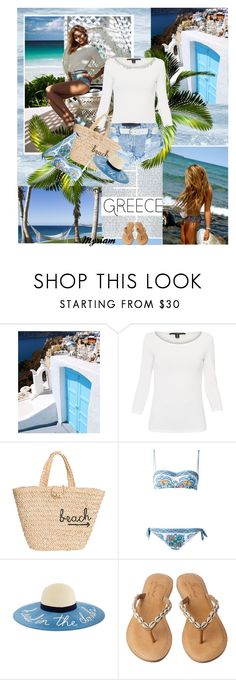"""""""Santorini Greece"""" by lovemeforthelife-myriam ❤ liked on Polyvore featuring Weekend Max Mara, OneTeaspoon, Hat Attack, Dolce&Gabbana, Skemo and M&Co"""