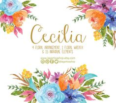 Watercolor clipart Floral PNG wedding bouquet by LagartixaShop
