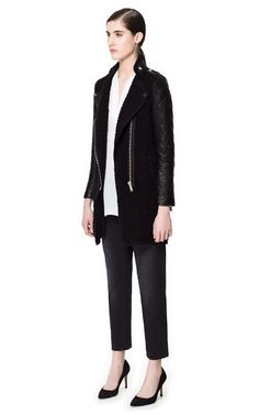 COAT WITH QUILTED LEATHER SLEEVES - Coats - Woman - ZARA United States