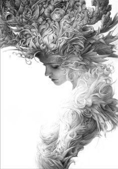 original world on Behance Illustration Art, Illustrations, Academic Art, Dark Art Drawings, Surreal Art, Art Sketchbook, Beautiful Artwork, Female Art, Art Sketches