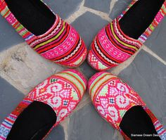 Girls colorful vegan Hmong embroidered loafers.  #Vegan #Shoes