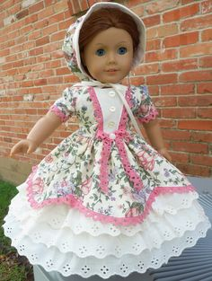 "18"" Doll Clothes Historical Dress Mid 1800's Civil War Style Spring Dress Fits American Girl Cecile, Marie Grace, Addy"