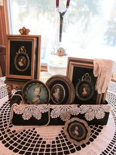 Beautiful vintage vignette with an old sewing machine drawer! Organized Clutter