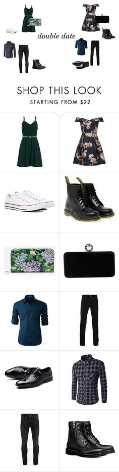 """""""double date"""" by caitlincatastrophe95 ❤ liked on Polyvore featuring Converse, Dr. Martens, Dolce&Gabbana, Swarovski, LE3NO, Versace and Alexander McQueen"""