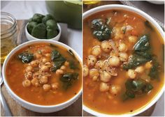 Moroccan Chickpea Soup! Full of flavor, protein, and fresh spinach (cause #vegans do it best.)