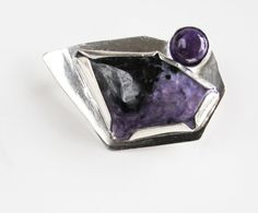 Purple Brooch Charoite Amethyst on Sterling Silver by DixSterling. Is you new fall coat purple? Love the Amethyst!