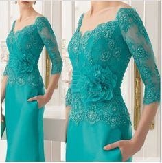 New Fashion Three Quarters Sleeves Green Evening Dress Long Mother Of The Bride Lace Dresses 2018 Plus Mother Of The Bride Dress Elegant,Wedding Mother Gowns Evening Party Gowns, Evening Dresses For Weddings, Formal Evening Dresses, Wedding Party Dresses, Dress Formal, Formal Gowns, Formal Outfits, Evening Outfits, Mother Of Groom Dresses