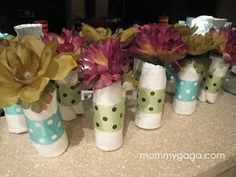 Cute idea for table decorations for a baby shower.