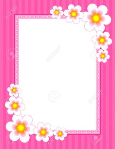 Floral Border - spring and summer. Cute flowers on pink background [spring / summer flowers] floral border, frame for greeting cards and other artworks Frame Border Design, Page Borders Design, Molduras Vintage, Boarders And Frames, Scrapbook Frames, Cute Frames, Borders For Paper, Frame Clipart, Paper Frames