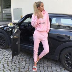 fcf0cebbc440 2pcs Hooded Casual Tracksuit Suits For Women Hoodies Sweatshirt+Sweatpants