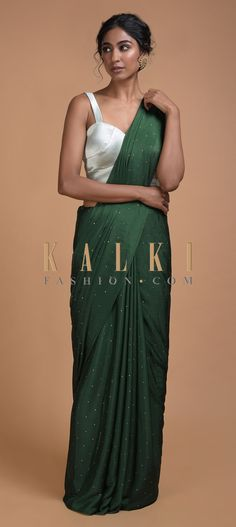 Buy Online from the link below. We ship worldwide (Free Shipping over US$100)  Click Anywhere to Tag Forest Green Saree In Chiffon With Badla Work All Over Online - Kalki Fashion Forest green saree in chiffon with badla work all over.Pallu enhanced with badla work in checks pattern and tassels on the border.
