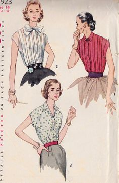 """1950s Misses Blouse Office Fashion, Summer Fashion, Rockabilly, Vintage Sewing Pattern, Simplicity 3923 bust 32"""""""