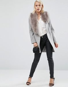 ASOS | ASOS Wool Blend Coat with Asymmetric Detachable Fur Collar