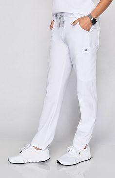 Yola Skinny Scrub Pants - Polish your professional look with our most stylin' scrub pant yet. Pediatric Scrubs, Stylish Scrubs, White Scrubs, Scrubs Uniform, Medical Scrubs, Nurse Scrubs, Nursing Clothes, Scrub Pants, White Pants