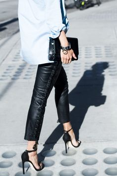 leather pants, sandals, denim shirt