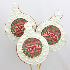 Logo Christmas Baubles Cookie Pops - A different way to give out a Christmas Gift! Customise with your own logo today!!!!