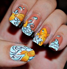 Koi Fish Nail Art by MadamLuck.deviantart.com on @deviantART; SnoWave comment: I like the concept of the image continuing from one nail to the next.