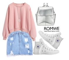 """""""Loose Pink Sweatshirt from Romwe"""" by mycherryblossom ❤ liked on Polyvore featuring Converse, Kin by John Lewis, simple, romwe and Sweatshirt"""