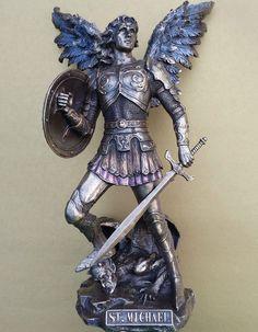 Michael Standing On Demon W Sword & Shield Figurine Bronze Statue Sculpture Art, Sculptures, Sword, Bronze, Statue, St Michael, Gifts, Angel, San Miguel