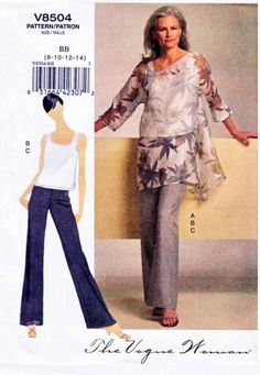 Vogue Sewing Pattern 8504 Misses Size 16-24 Easy Pullover Tunic Top Pants Shell  OOP Pattern $18.99