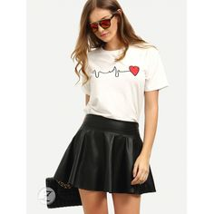 f95e891b050 Shop Short Sleeve Heart Print T-shirt online. SheIn offers Short Sleeve  Heart Print T-shirt   more to fit your fashionable needs.