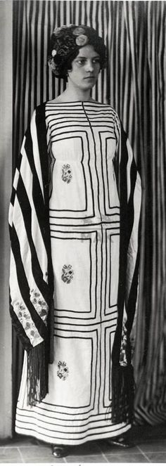 JOSEF HOFFMANN, dress, embroidered shawl and fringed hat, 1911