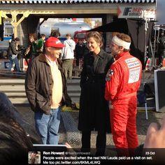 Niki Lauda visiting the set of RUSH