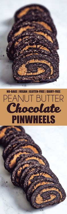 No-Bake Peanut Butter Chocolate Pinwheels #vegan #glutenfree #dairyfree #chocolate #pb #peanutbutter #pinwheels #nobake #cookies #oats #oatflour #wheatfree #flourless #freefrom #6ingredient #uk #british #recipe #dessert #easy #quick #treat #snack