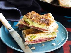 Toasting this club sandwich makes the best snack ever! Nici Wickes doesn't scrimp when it comes to packing these cheesy, pickley pastrami fingers full of plenty of fillings Pastrami Sandwich, Sandwich Fillings, Sandwiches, Beetroot Relish, Bread Pudding With Apples, Marinated Salmon, Muesli Bars, Apple Bread, Appetisers