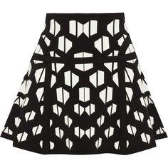 Diane von Furstenberg Flote intarsia stretch-knit mini skirt ($345) ❤ liked on Polyvore featuring skirts, mini skirts, bottoms, saias, faldas, black and white skirt, black and white mini skirt, short mini skirts, pull on skirt and elastic waist skirt