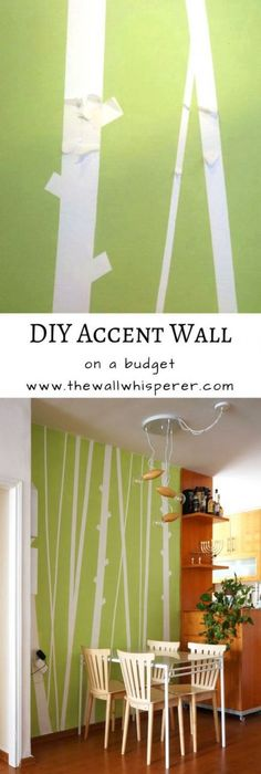 Bamboo accent wall - DIY faux wallpaper home decor project - on a budget. Dining Room Decorating Ideas On A Budget Upcycled Crafts, Wall Design, Diy Design, Design Ideas, Design Patterns, Painters Tape Design, Diy Wall Art, Wall Decor, Diy Art