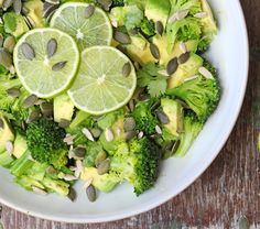 Broccoli and avocado salad with a creamy tahini dressing. I leave out the cilantro (blech)