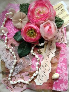 Pinning Prompt #2: My handmade collage full of vibrant colors, embellished with silk flowers, leaves, shells, lace, a bit of music sheet, decorative papers, pearls, sentiment.